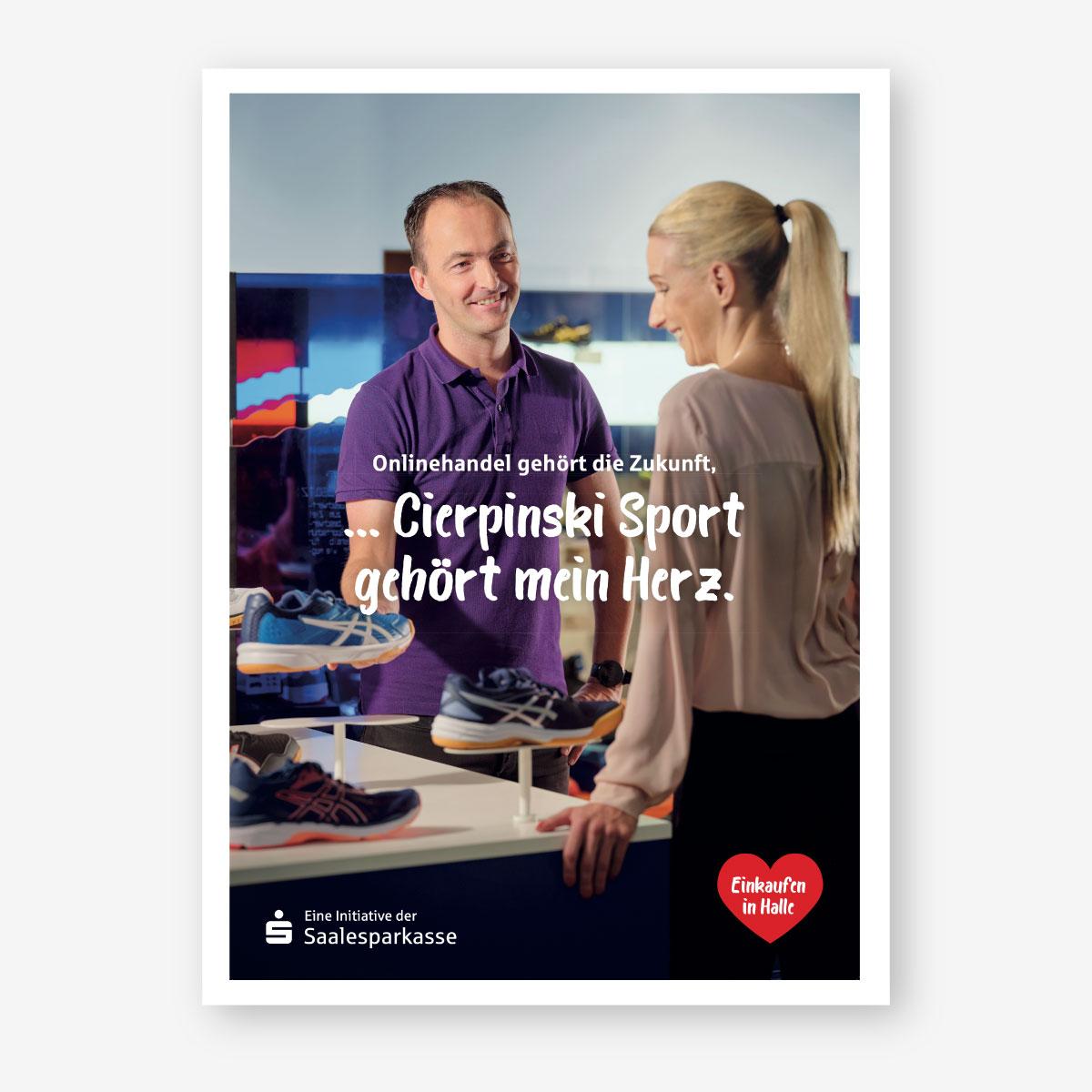 Kampagne der Saalesparkasse für Händler in der Region: Plakatmotiv: Sporthaus Cierpinski