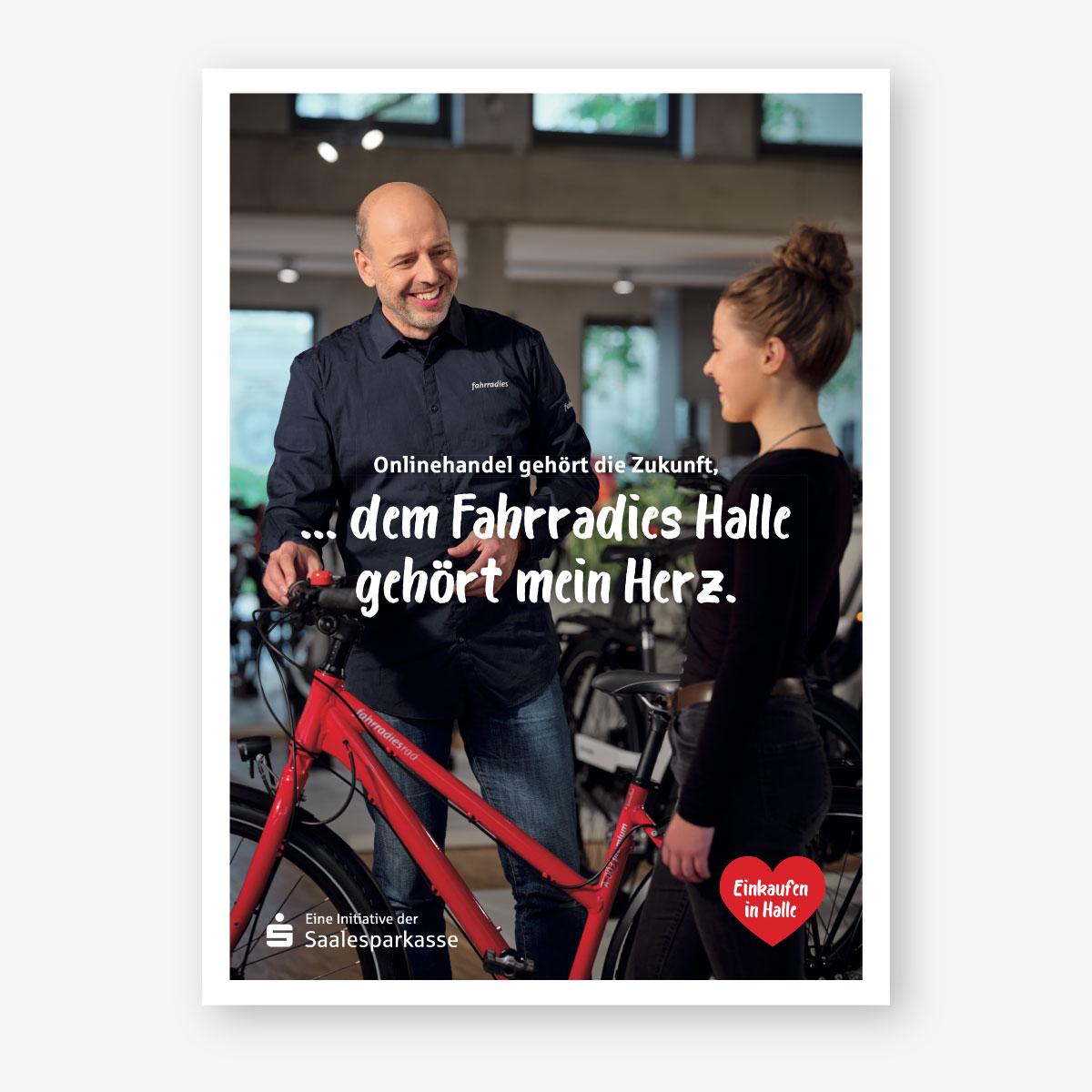 Kampagne der Saalesparkasse für Händler in der Region: Plakatmotiv: Fahrradies Halle