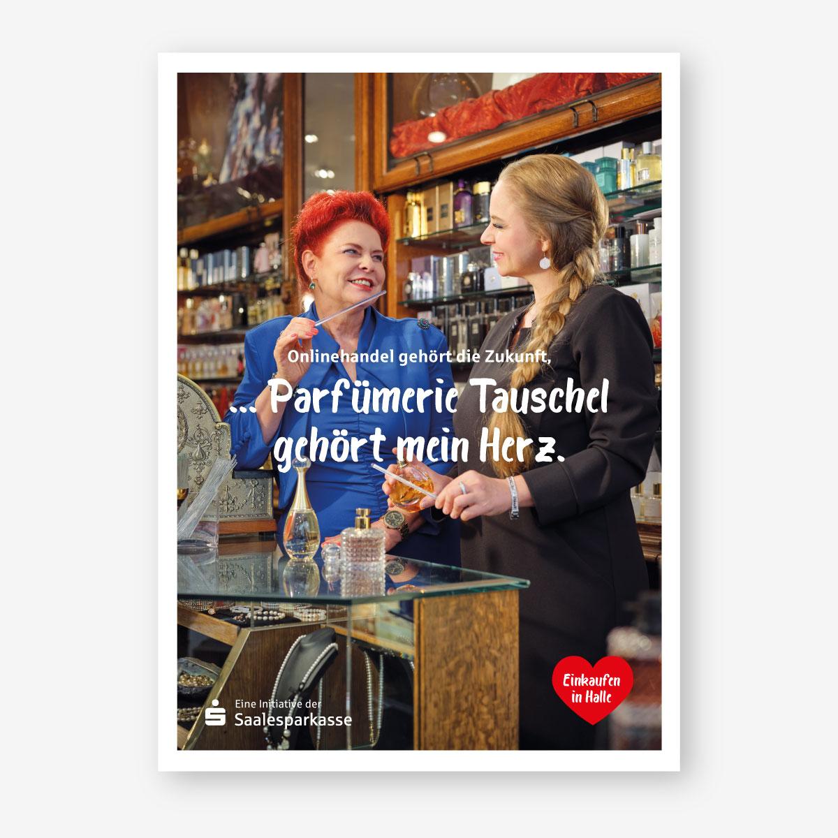 Kampagne der Saalesparkasse für Händler in der Region: Plakatmotiv: Parfümerie Tauschel