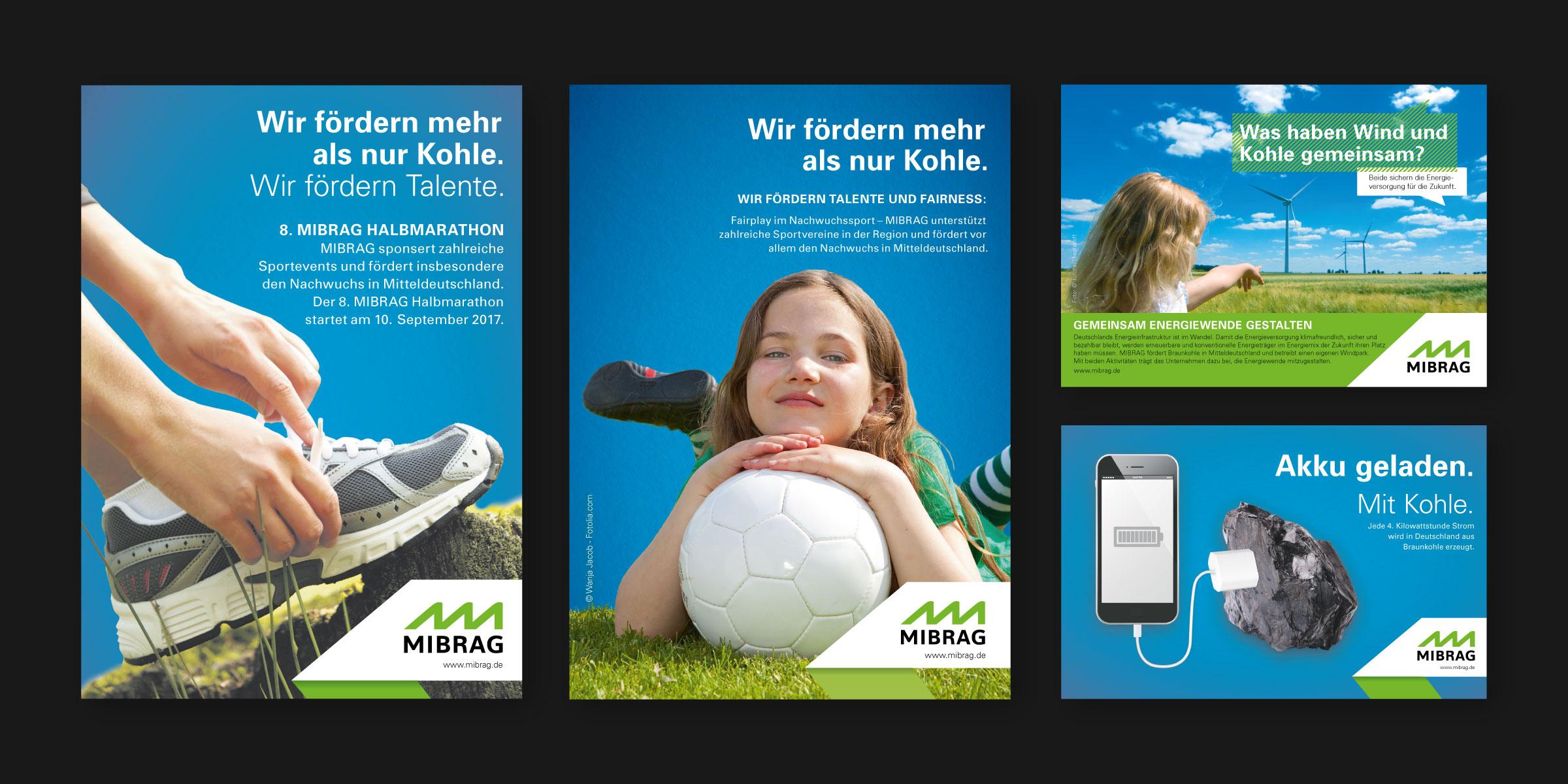 MIBRAG: verschiedene Werbemotive