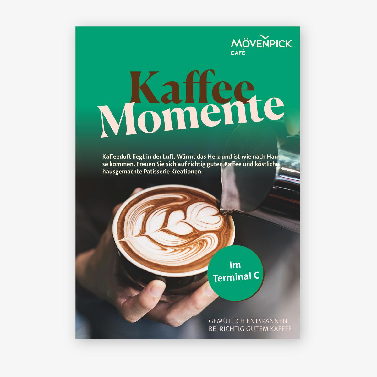 Plakat als Teil des Rebranding der Werbemittel von Mövenpick Café