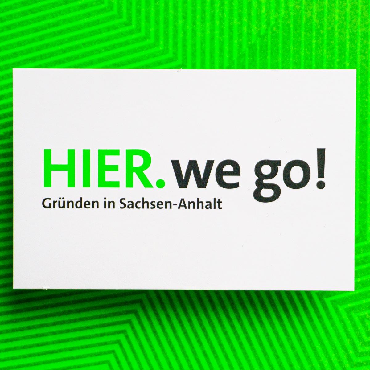 Hier we go! Gründerland: Visitenkarte