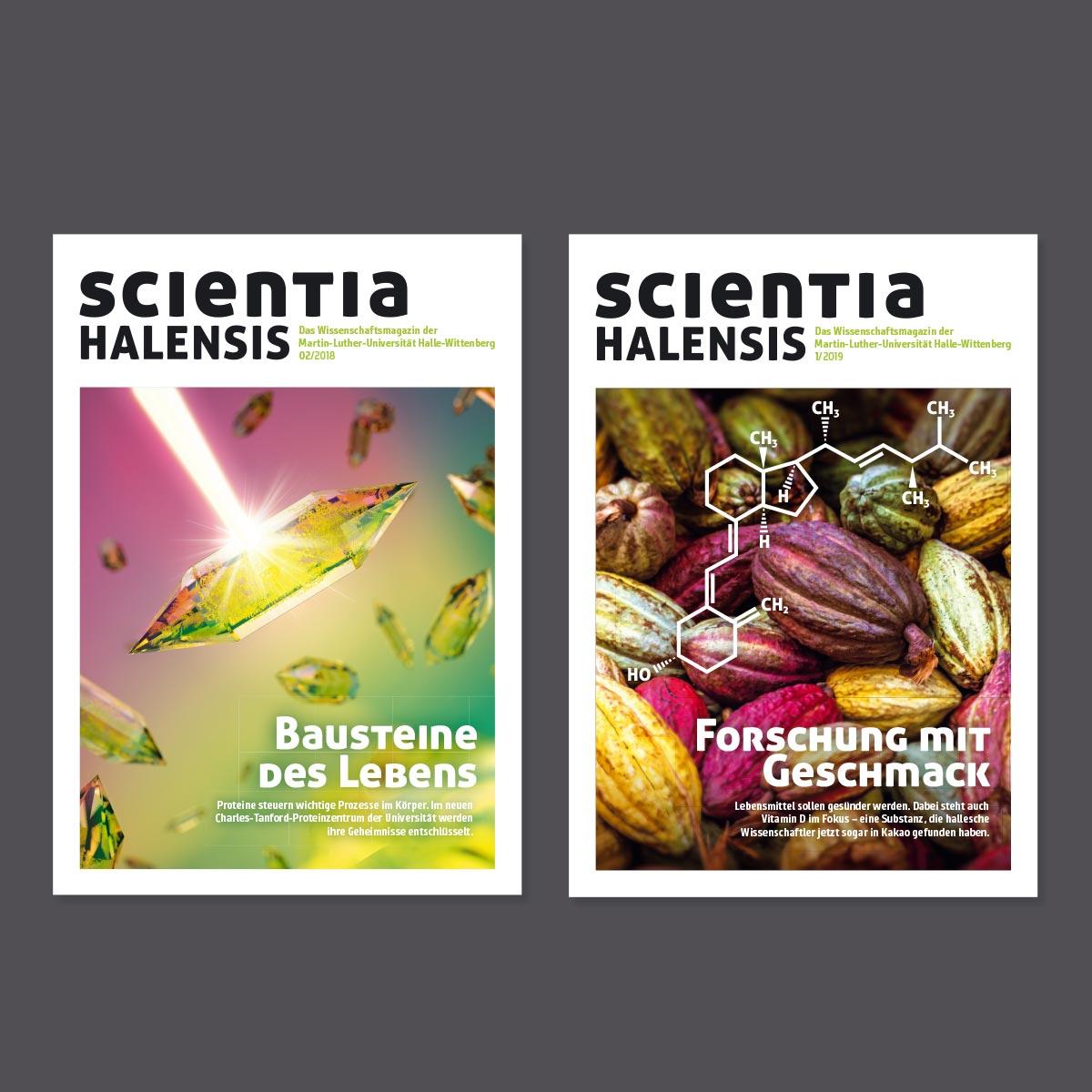 Scientia Halensis: Titelbilder der Ausgabe 2/2018 und 1/2019