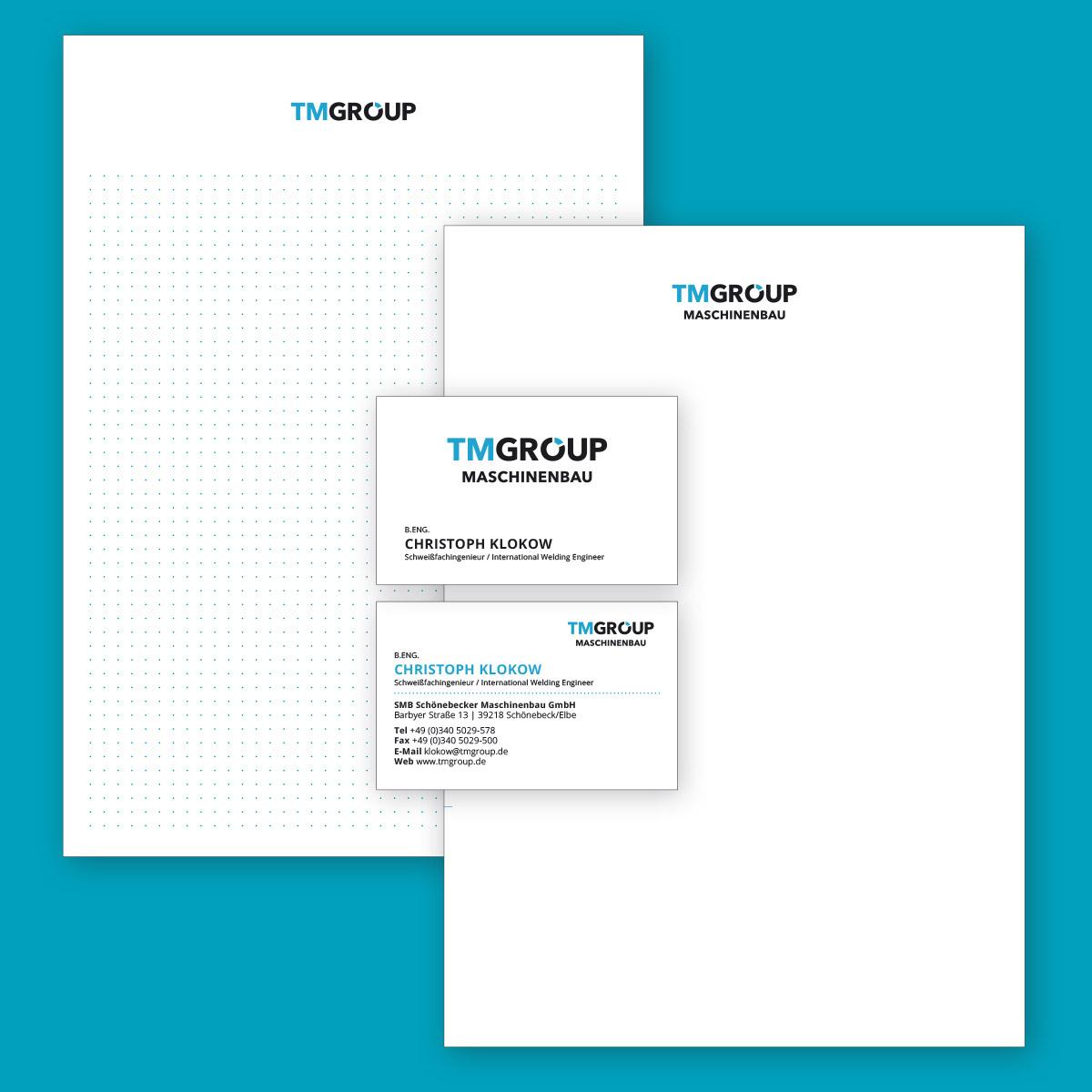 TMGROUP: Block, Briefbogen und Visitenkarte (Vor- und Rückseite)