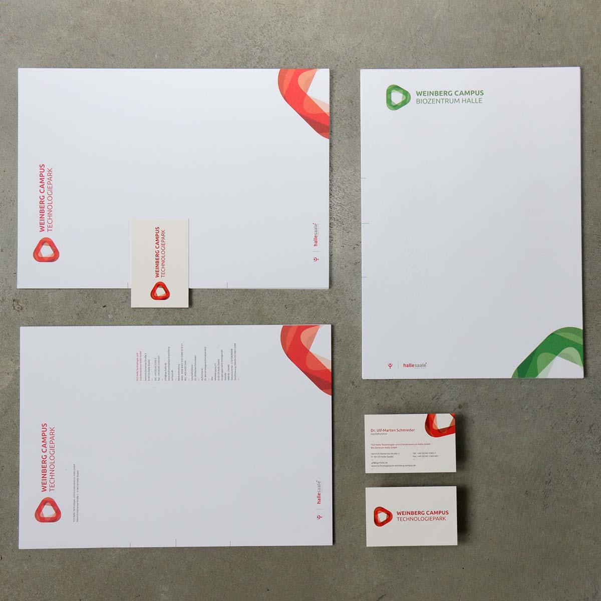 Briefbögen und Visitenkarten vom Weinberg Campus Technologiepark