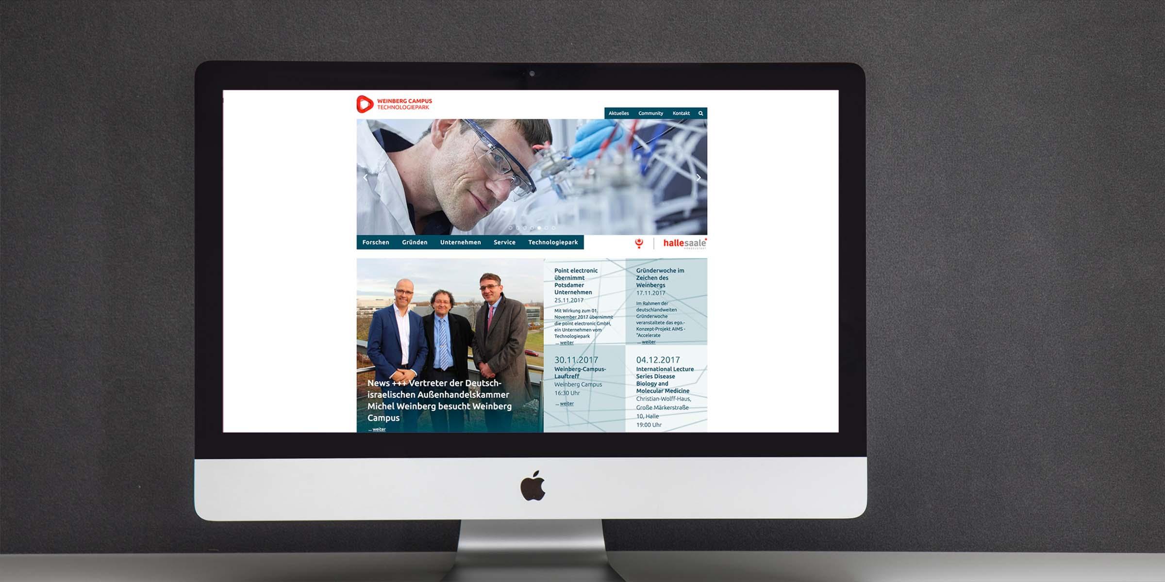 Ansicht der Website vom Weinberg Campus Technologiepark
