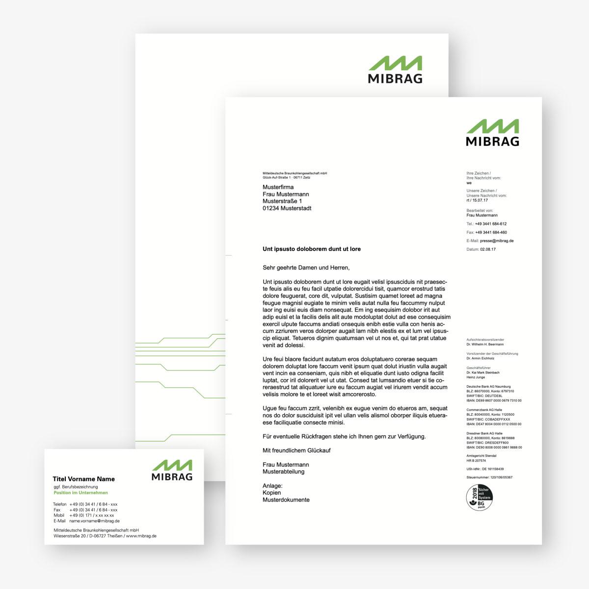 MIBRAG Redesign der Geschäftsausstattung: Visitenkarte, Briefbogen, Mappe