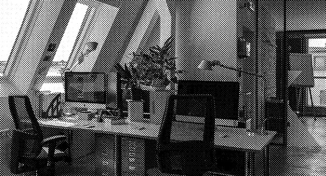 Arbeitsplatz im Büro der Agentur Kappa